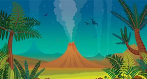 Prehistoric nature - volcano, pterodactyl, fern and night sky. Stock Photography