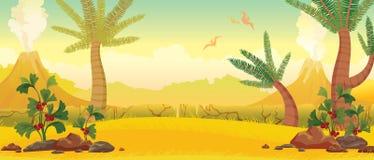 Prehistoric nature - volcanoes, pterodacryls, plants. Stock Photo