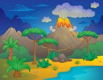 Prehistoric night landscape 1 Royalty Free Stock Photography