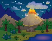 Prehistoric night landscape 2 Royalty Free Stock Images