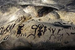 Prehistoric paintings. Magura cave. stock photography