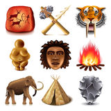 Prehistoric people icons vector set Stock Photography