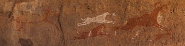 Prehistoric Petroglyphs in libian sahara desert Royalty Free Stock Photography