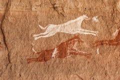 Prehistoric Petroglyphs in libian sahara desert. Prehistoric Petroglyphs - Rock Art - Akakus Acacus Mountains, Sahara, Libya royalty free stock photo