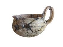 Prehistoric pottery isolated over white Royalty Free Stock Photo