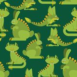 Prehistoric rabbit dinosaur seamless pattern. Dino cat ornament. Raptor jerboa monster texture. Background for childrens cloth. Jurassic Animals Set Stock Photography