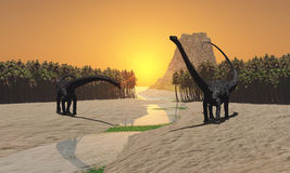 Prehistoric River. Two Diplodocus dinosaurs come to a river for a drink in prehistoric times royalty free stock images