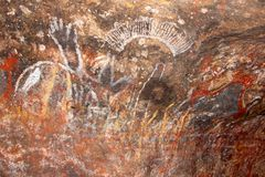 Historic rock carvings around Uluru Ayers Rock, Australia Royalty Free Stock Photos