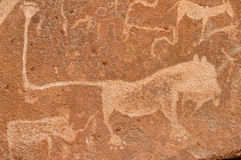 Prehistoric rock carvings, Namibia Stock Image
