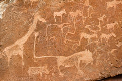 Prehistoric rock carvings, Namibia. Prehistoric Bushman rock carvings, Namibia Stock Photography