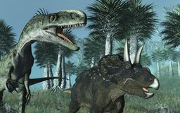 Prehistoric Scene with Dinosaurs Royalty Free Stock Image