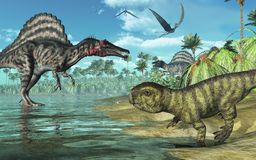 Prehistoric Scene with Dinosaurs 2 royalty free illustration