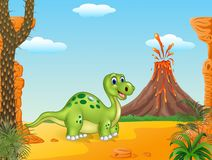Prehistoric scene with funny dinosaur walking Royalty Free Stock Image
