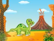 Prehistoric scene with funny dinosaur walking Royalty Free Stock Image
