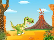 Prehistoric scene with happy tyrannosaurus dinosaur mascot Royalty Free Stock Images