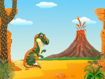 Prehistoric scene with tyrannosaurus dinosaur mascot Royalty Free Stock Photo
