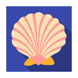 Prehistoric seashell icon in flat style isolated on white background. Dinosaurs and prehistoric symbol Royalty Free Stock Image