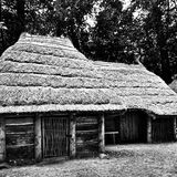 Prehistoric settlement architecture. Artistic look in black and white. Stock Images