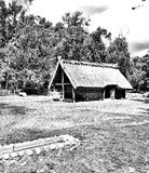 Prehistoric settlement architecture. Artistic look in black and white. Royalty Free Stock Images