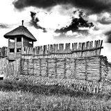 Prehistoric settlement architecture. Artistic look in black and white. Stock Photography