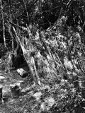 Prehistoric settlement architecture. Artistic look in black and white. Royalty Free Stock Photo