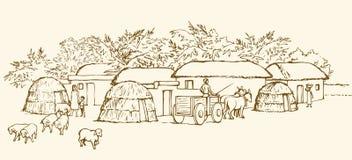 Prehistoric settlement. Vector engraving Royalty Free Stock Image