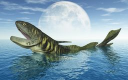 Prehistoric shark Orthacanthus in front of the moon. Computer generated 3D illustration with the prehistoric shark Orthacanthus in front of the moon Stock Photography