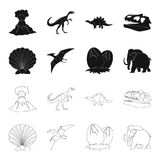 Prehistoric shell, dinosaur eggs,pterodactyl, mammoth. Dinosaur and prehistoric period set collection icons in black. Outline style vector symbol stock Stock Photography
