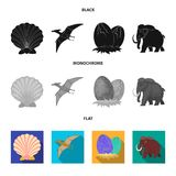 Prehistoric shell, dinosaur eggs,pterodactyl, mammoth. Dinosaur and prehistoric period set collection icons in black. Flat, monochrome style vector symbol Stock Photos