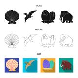 Prehistoric shell, dinosaur eggs,pterodactyl, mammoth. Dinosaur and prehistoric period set collection icons in black. Flat,outline style vector symbol stock Royalty Free Stock Photos
