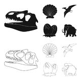 Prehistoric shell, dinosaur eggs,pterodactyl, mammoth. Dinosaur and prehistoric period set collection icons in black. Outline style vector symbol stock Stock Images