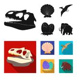 Prehistoric shell, dinosaur eggs,pterodactyl, mammoth. Dinosaur and prehistoric period set collection icons in black. Flat style vector symbol stock Stock Photography