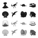 Prehistoric shell, dinosaur eggs,pterodactyl, mammoth. Dinosaur and prehistoric period set collection icons in black. Monochrome style vector symbol stock Royalty Free Stock Photo