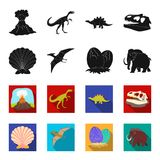 Prehistoric shell, dinosaur eggs,pterodactyl, mammoth. Dinosaur and prehistoric period set collection icons in black. Flet style vector symbol stock Royalty Free Stock Image