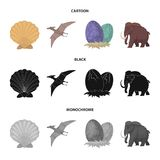 Prehistoric shell, dinosaur eggs,pterodactyl, mammoth. Dinosaur and prehistoric period set collection icons in cartoon. Black,monochrome style vector symbol Stock Photography