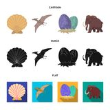 Prehistoric shell, dinosaur eggs,pterodactyl, mammoth. Dinosaur and prehistoric period set collection icons in cartoon. Black,flat style vector symbol stock Royalty Free Stock Photo