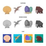 Prehistoric shell, dinosaur eggs,pterodactyl, mammoth. Dinosaur and prehistoric period set collection icons in cartoon. Flat,monochrome style vector symbol Royalty Free Stock Image