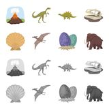 Prehistoric shell, dinosaur eggs,pterodactyl, mammoth. Dinosaur and prehistoric period set collection icons in cartoon. Monochrome style vector symbol stock Royalty Free Stock Photography