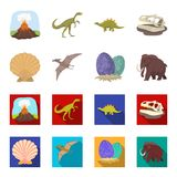 Prehistoric shell, dinosaur eggs,pterodactyl, mammoth. Dinosaur and prehistoric period set collection icons in cartoon. Flat style vector symbol stock Royalty Free Stock Photography