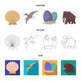Prehistoric shell, dinosaur eggs,pterodactyl, mammoth. Dinosaur and prehistoric period set collection icons in cartoon. Outline,flat style vector symbol stock Stock Photography