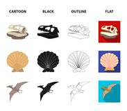 Prehistoric shell, dinosaur eggs,pterodactyl, mammoth. Dinosaur and prehistoric period set collection icons in cartoon. Black,outline,flat style vector symbol Stock Images