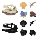 Prehistoric shell, dinosaur eggs,pterodactyl, mammoth. Dinosaur and prehistoric period set collection icons in cartoon. Black style vector symbol stock Stock Image
