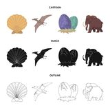 Prehistoric shell, dinosaur eggs,pterodactyl, mammoth. Dinosaur and prehistoric period set collection icons in cartoon. Black,outline style vector symbol stock Stock Photo