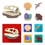 Prehistoric shell, dinosaur eggs,pterodactyl, mammoth. Dinosaur and prehistoric period set collection icons in cartoon. Flat style vector symbol stock Stock Images