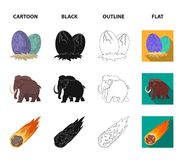 Prehistoric shell, dinosaur eggs,pterodactyl, mammoth. Dinosaur and prehistoric period set collection icons in cartoon. Black,outline,flat style vector symbol Stock Photo