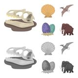Prehistoric shell, dinosaur eggs,pterodactyl, mammoth. Dinosaur and prehistoric period set collection icons in cartoon. Monochrome style vector symbol stock Stock Photo