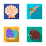Prehistoric shell, dinosaur eggs,pterodactyl, mammoth. Dinosaur and prehistoric period set collection icons in flat. Style vector symbol stock illustration Stock Images