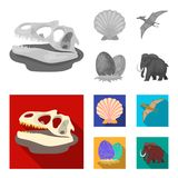 Prehistoric shell, dinosaur eggs,pterodactyl, mammoth. Dinosaur and prehistoric period set collection icons in. Monochrome,flat style vector symbol stock Royalty Free Stock Image
