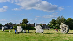 Prehistoric Standing Stones. Avebury, UK - August 31, 2014: View of the prehistoric standing stones at Avebury neolithic henge monument. The ancient Wiltshire Royalty Free Stock Images