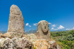 Prehistoric statues in the Corsica hills - 3 Stock Photos